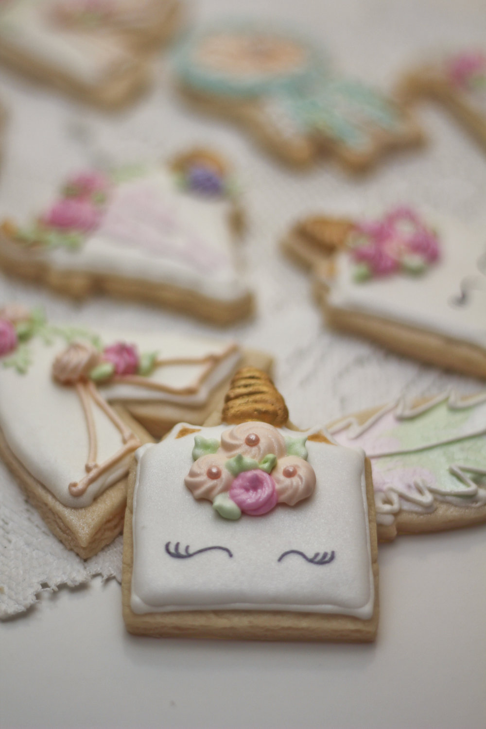 Bohemian shortbread cookies decorated with royal icing for a baby girl shower