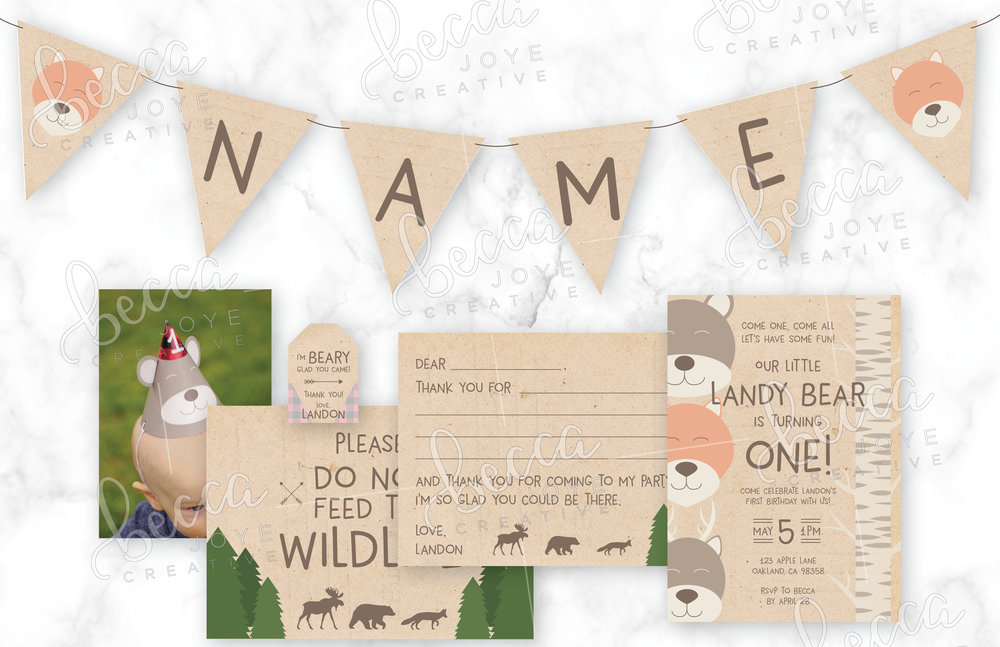 Adorable woodland birthday party set