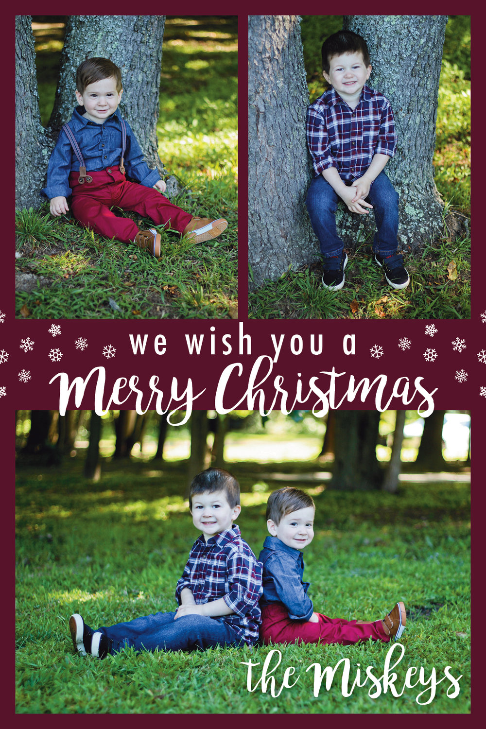 Snowflake Merry Christmas card customizable with your family's name and pictures
