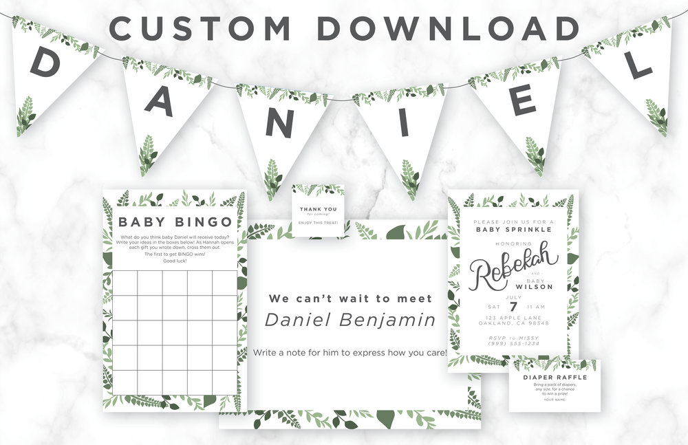 This set of printable items is perfect for your garden-themed baby shower! The hand-lettered portion is custom created for the mom-to-be!
