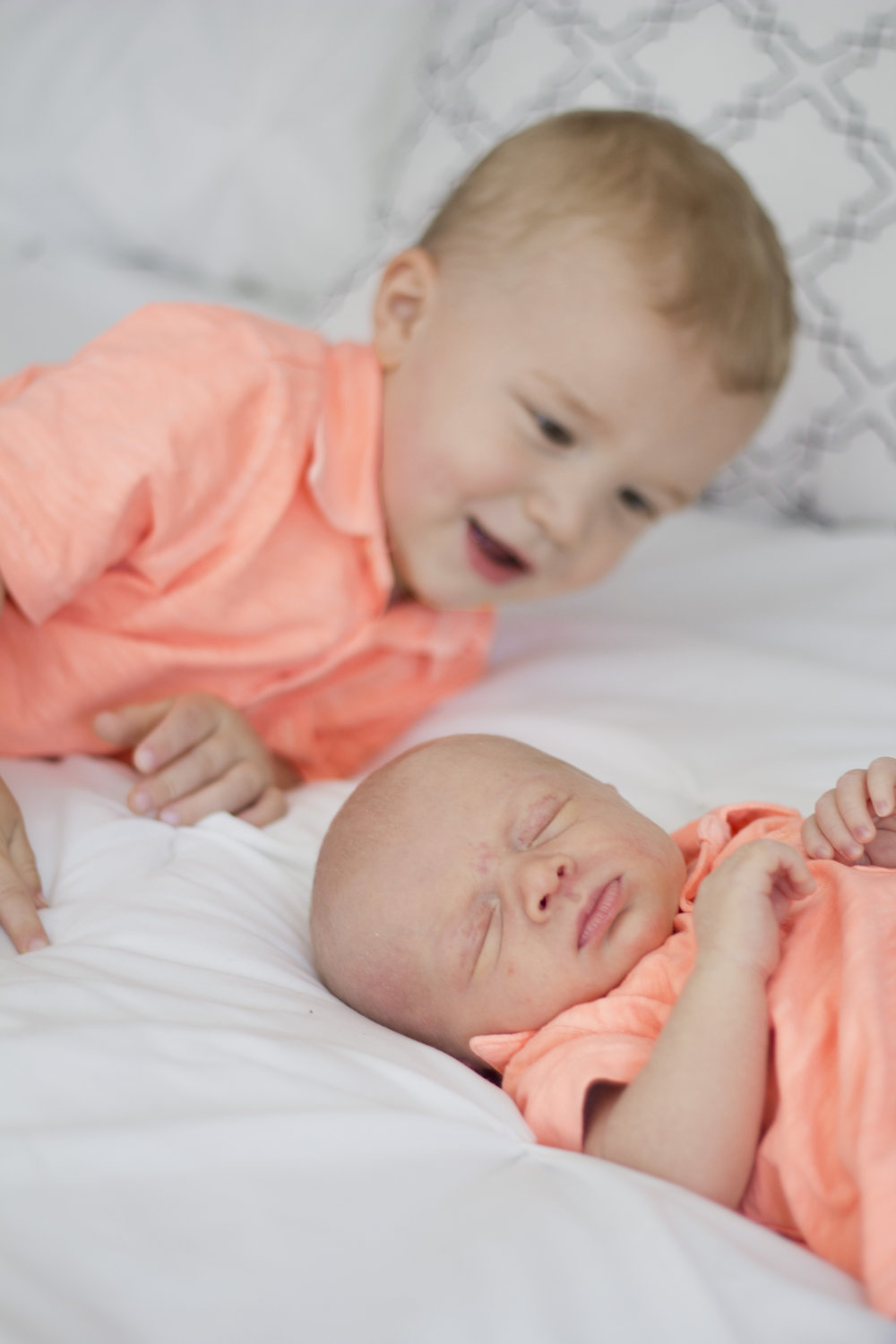 Sweet in-home baby boy newborn session. Big brother and little brother together at last!