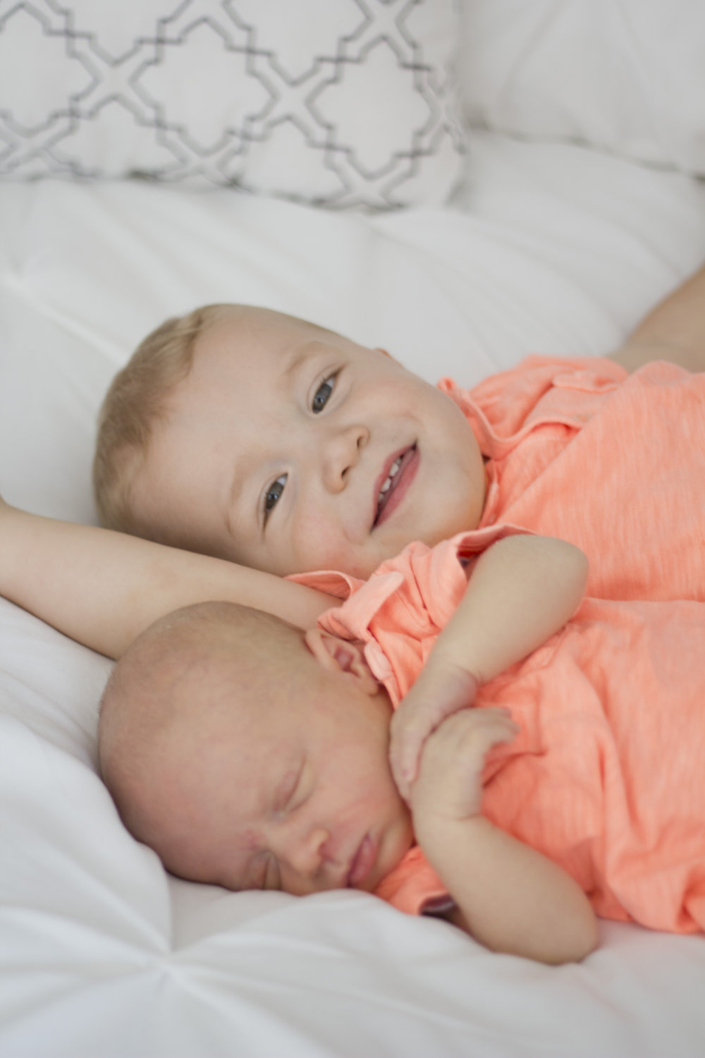 Sweet in-home baby boy newborn session. Big brother and little brother - buddies for life!