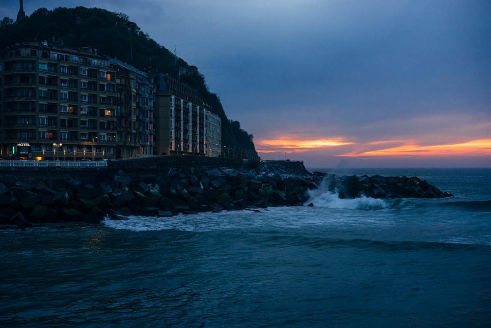 Moody sunset in San Sebastian.