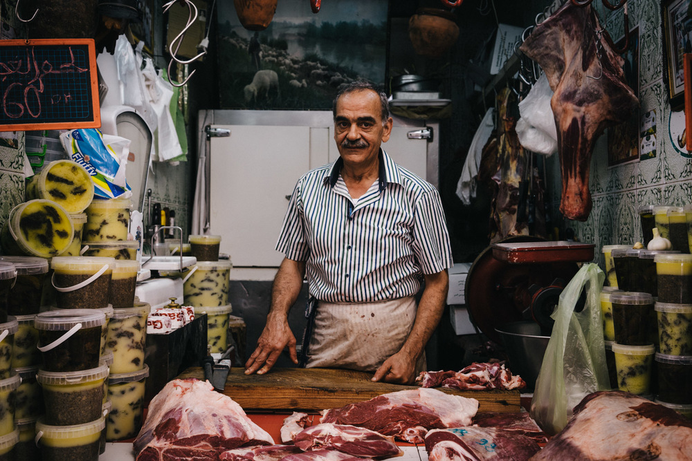 A butcher in the old medina of Fez.