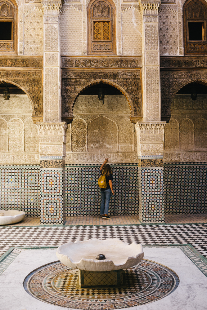 Marveling at the detail of the Bou Inania Madrasa.