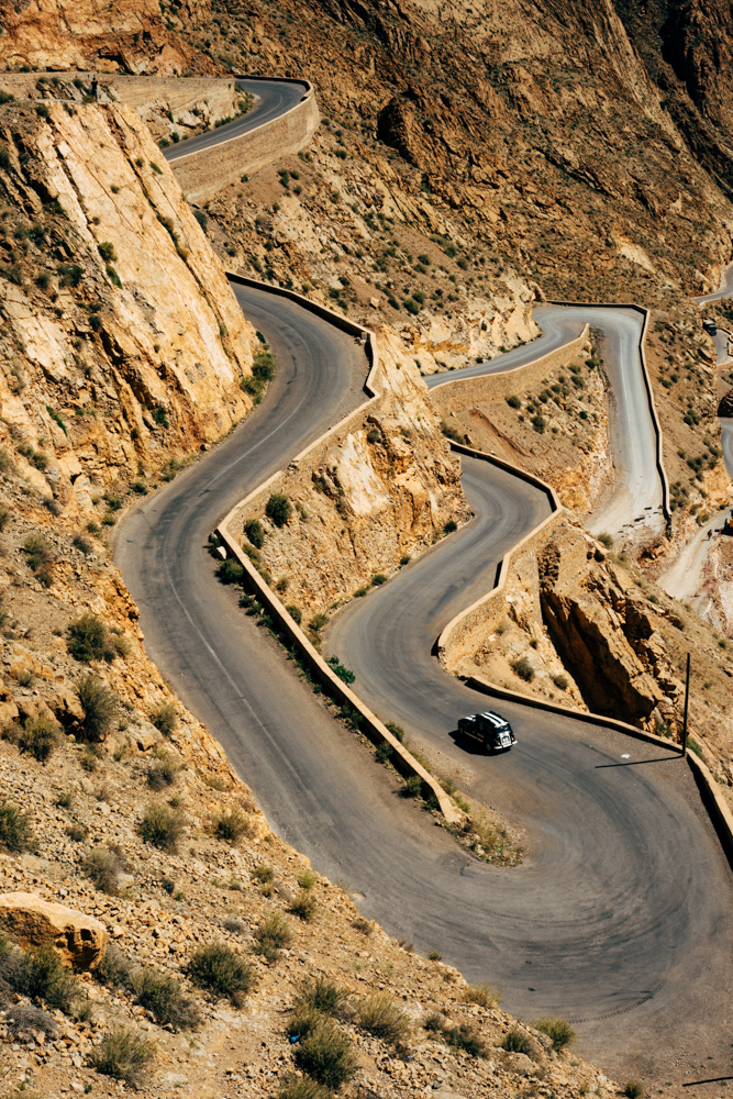 Switchback road around the Dades Gorge in the High Atlas Mountains.