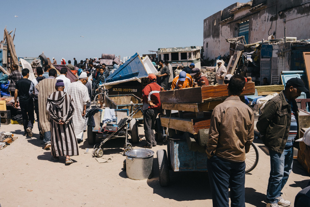 Chaotic flea market in Essaouira.