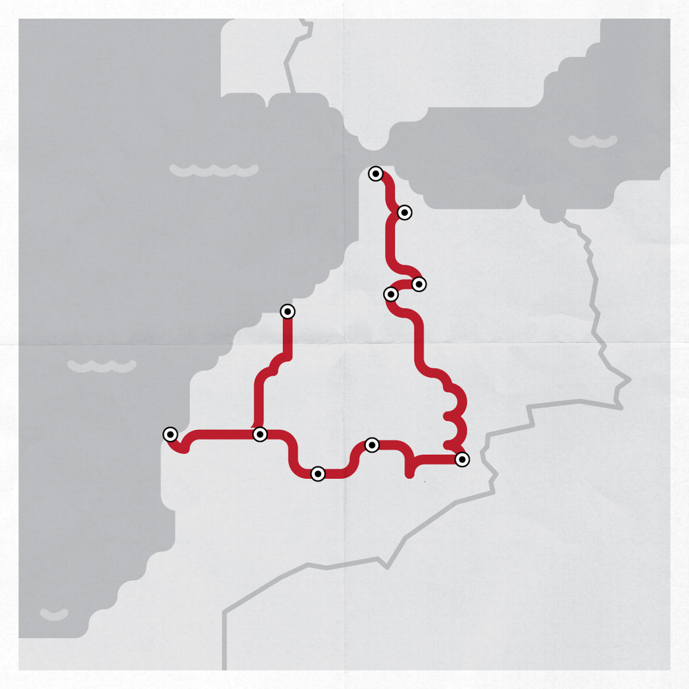 Our route through Morocco visualized.