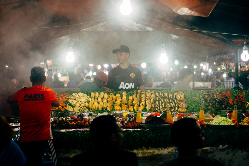 One of the many food stalls that come alive once the sun sets in the Dja Jemma el Fna.