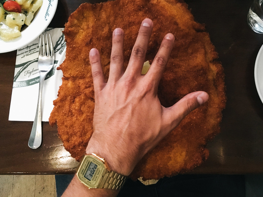 I think we tried almost every schnitzel in town but this one was definitely the biggest!