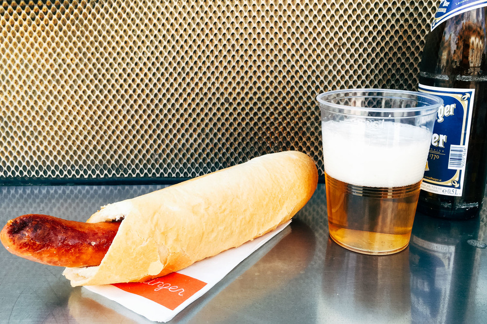 Cheese filled Kaisekrainer and cold Austrian beer.