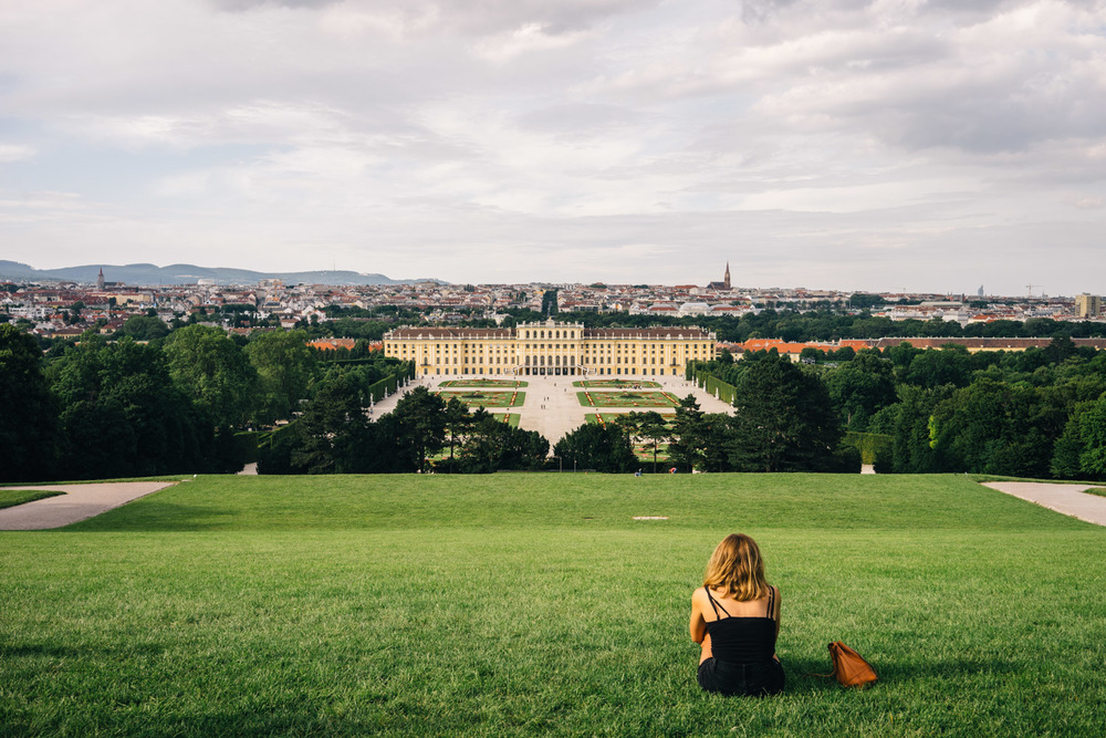 Relaxing on the lawns of the Schönbrunn Palace.