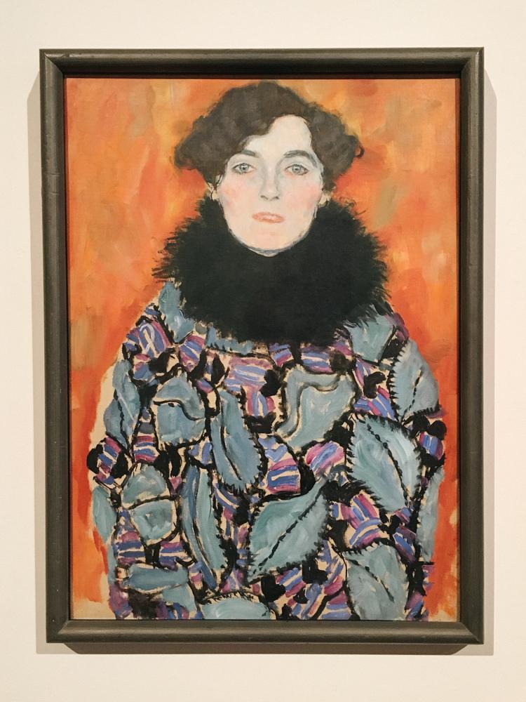 Portrait of Johanna Staude by Gustav Klimt at the Belvedere Museum.