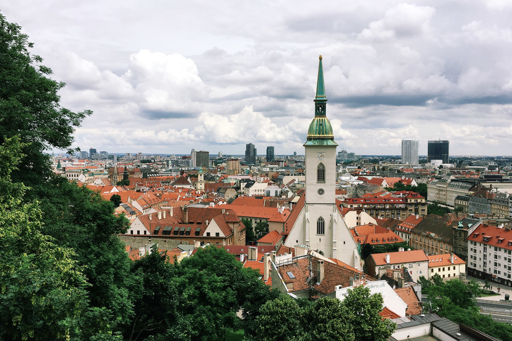 View of the old town from Bratislava Castle.