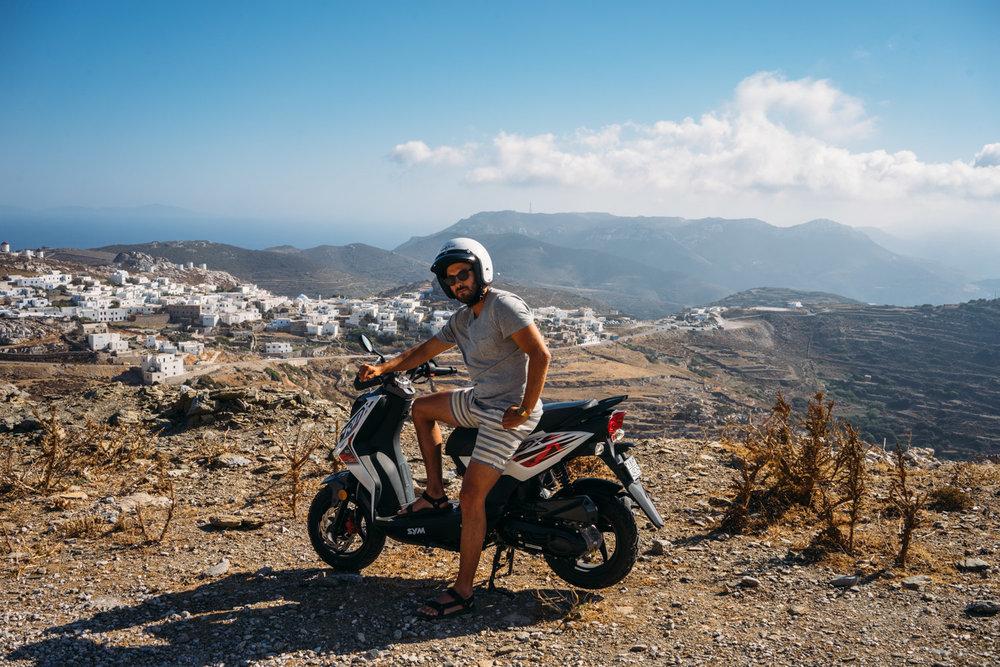 Cruising around Amorgos on our 50cc testosterone machine.