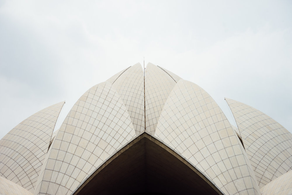 Architectural detail of the Lotus Temple (Above). Snapping pics with our fans! (Below)