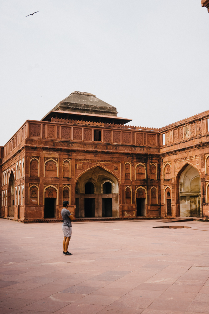 Marco admiring the architecture of the Agra Fort.