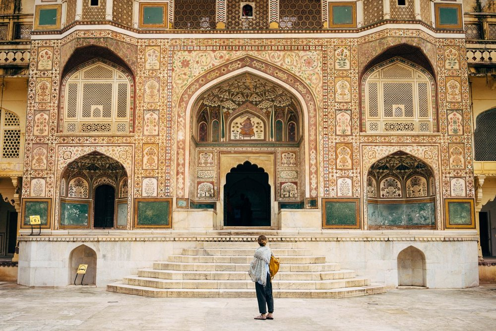 Admiring the beautiful details at the Amer Fort.