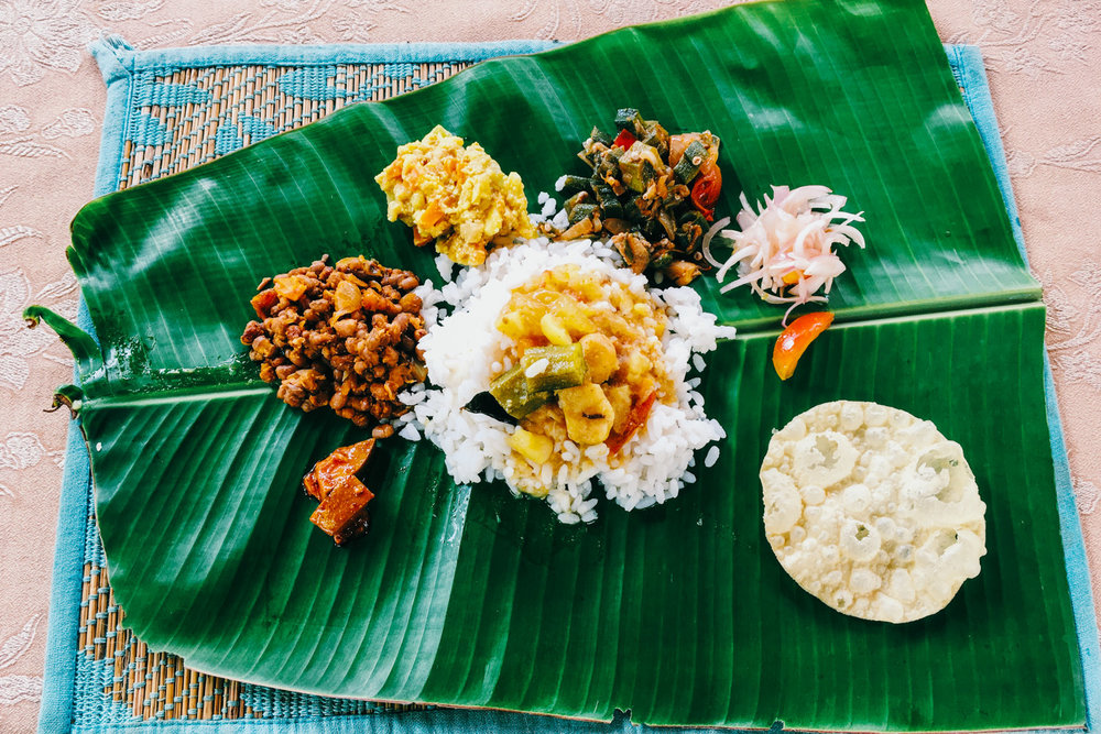 Who needs plates when you have banana leaves.