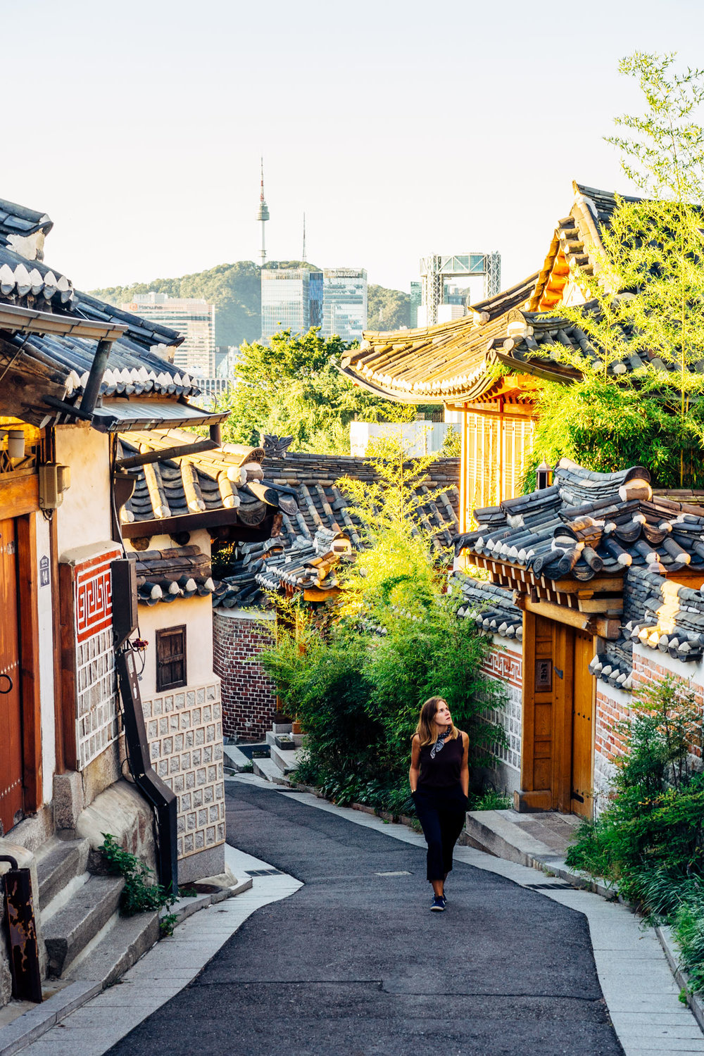 Walking through the Bukchon Hanok Village.