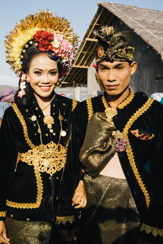 The bride and groom from a beautiful Indonesian wedding we were lucky to attend (I can't get over their attire!).