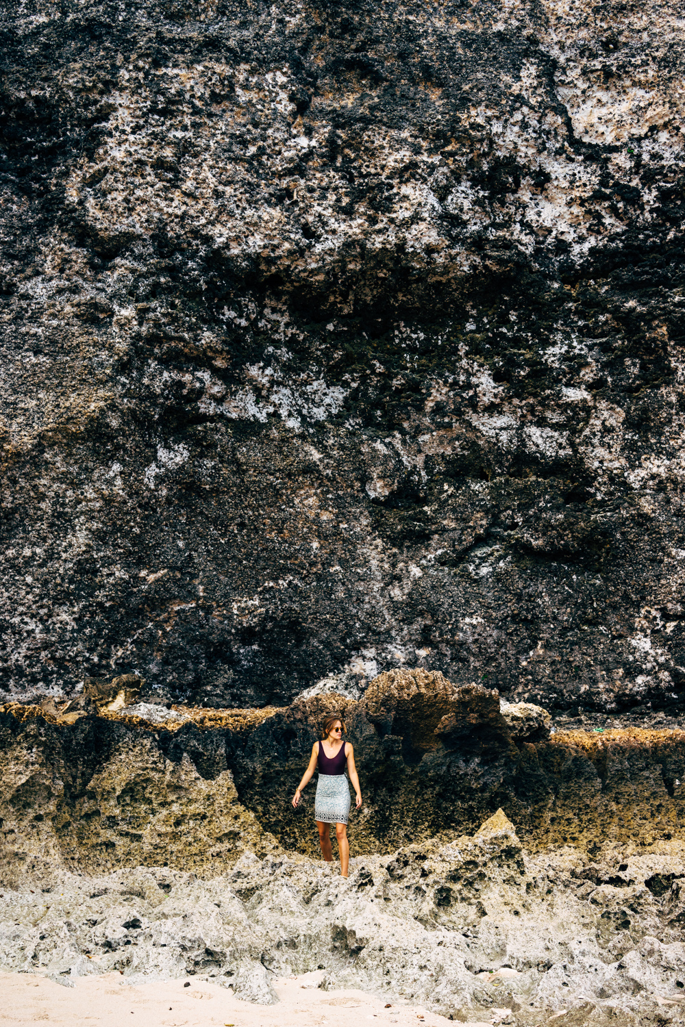 Exploring the craggy limestone coastline of Uluwatu.