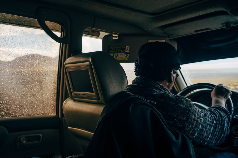 Our driver Andres focusing on the road as the rains begin to fall.