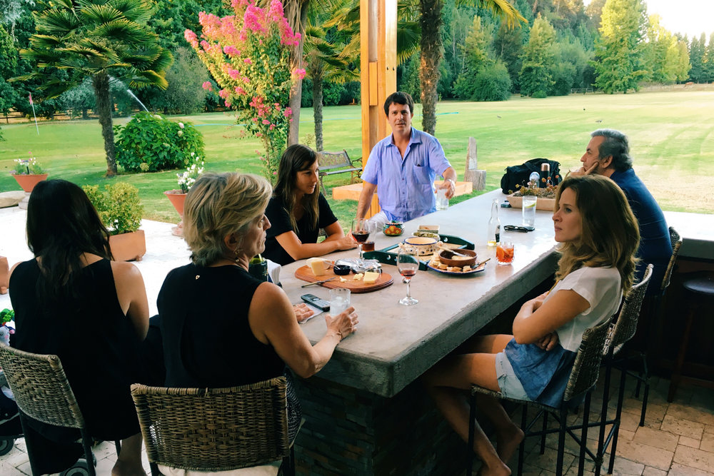 Happy hour with the Letelier family at their home in Aculeo.