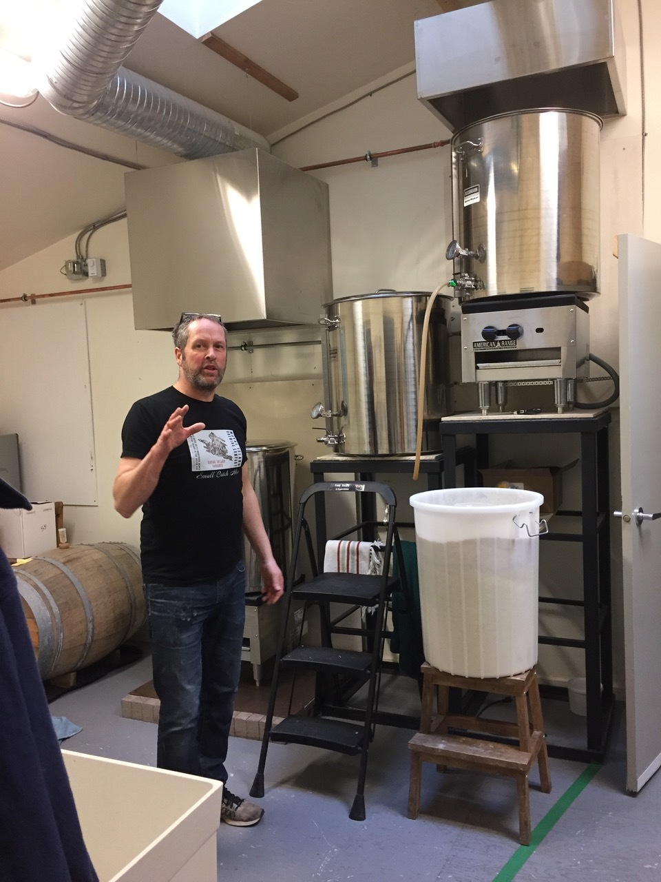 Brewer Michael Garratt's gravity fed brew house