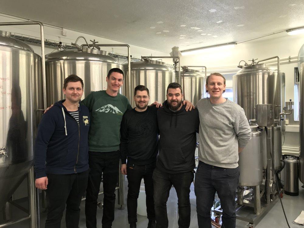 Aaron with Andri, Ingi, Steinn and Brewer Bergur Gunnarson of Malbygg Brewing.