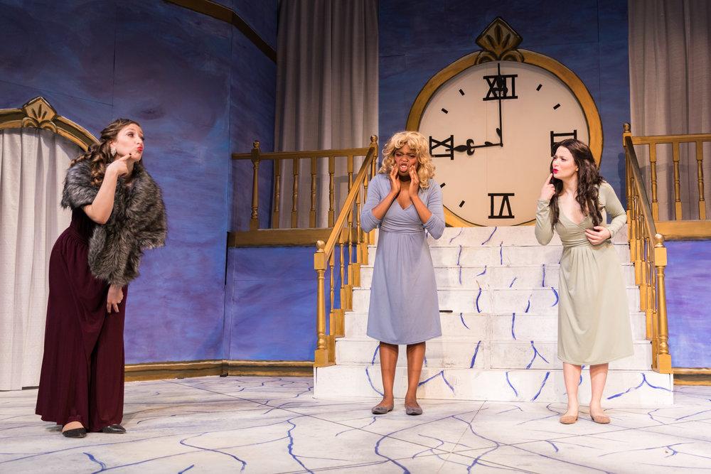 Act I: Madame de la Haltière, or Cinderella's stepmother (Rebecca Thau '20), with Noémie and Dorothée, the stepsisters (Hagar Adam and Ruva Chigwedere '21). Photo: Joshua Chiang.
