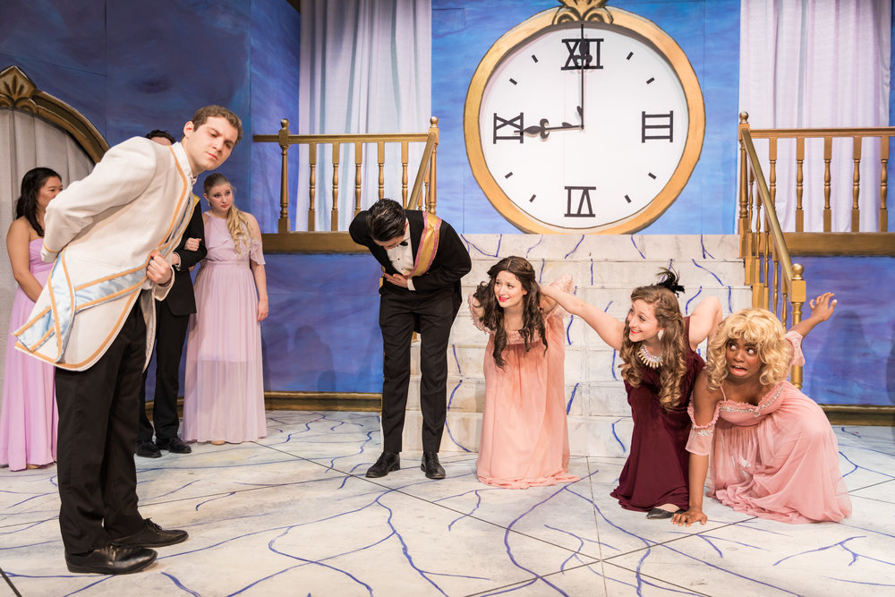 Act II: Le Prince Charmant, or Prince Charming (Samuel Rosner '20), reluctantly greets Cinderella's stepfamily (Alexander Chen '22, Hagar Adam, Rebecca Thau '20, and Ruva Chigwedere '21). Photo: Joshua Chiang.
