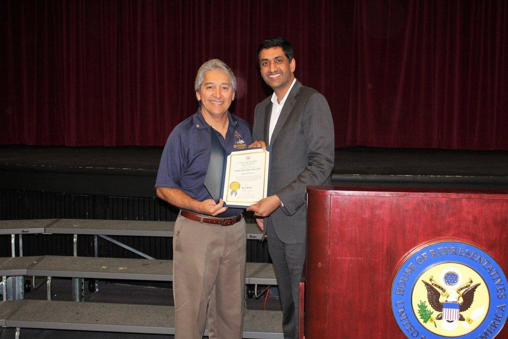 Congressman Ro Khanna & Club President Lion Martin Basurto