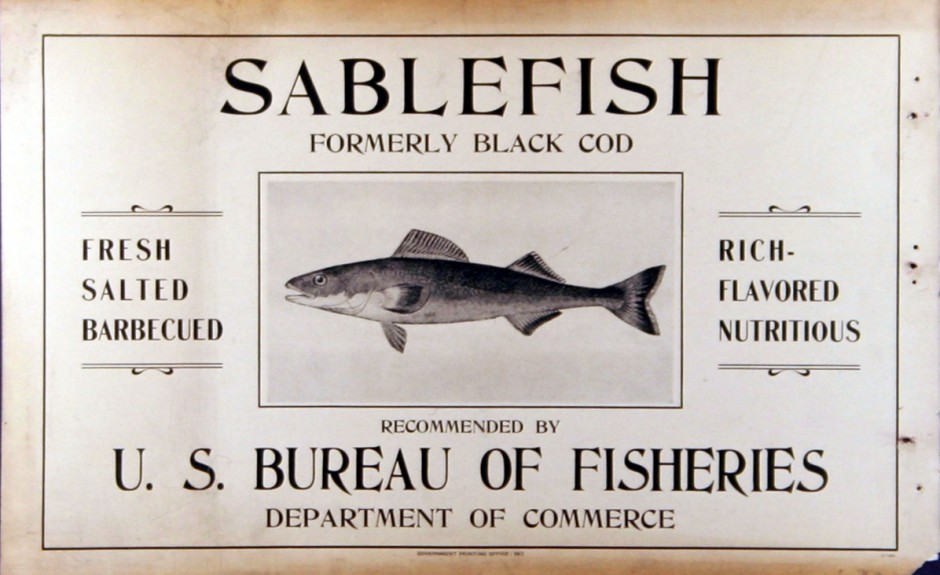 "Early advertisement for the newly-minted ""sablefish."" Courtesy NOAA."