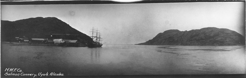 One of the two canneries built at the Uyak Achorage, just inside Uyak Bay on the west side of Kodiak Island. Image from the collection of Anjuli Grantham.