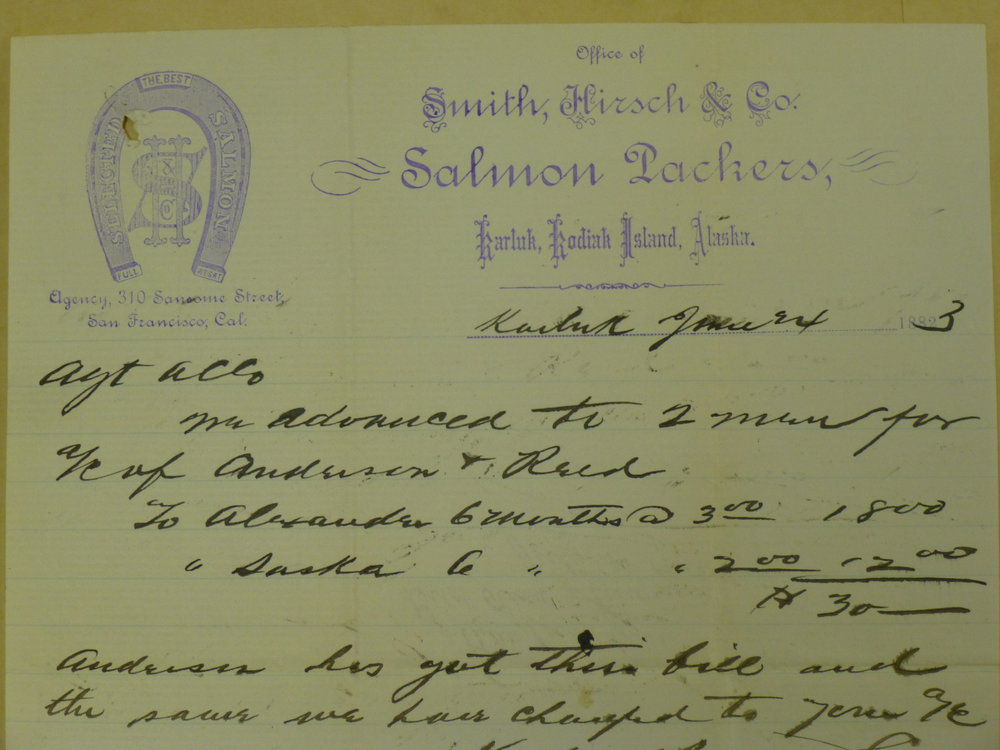Letterhead from Smith, Hirsch and Co., before the company became Karluk Packing Co. Note the horseshoe on the left. This letter comes from the  Alaska Commercial Company Records  at University of Alaska Fairbanks Rasmuson Library's Alaska and Polar Collection.