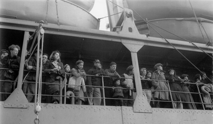 Villagers from the Pribilof Islands, on board the Delarof, en route to Southeast Alaska. Image courtesy NARA.
