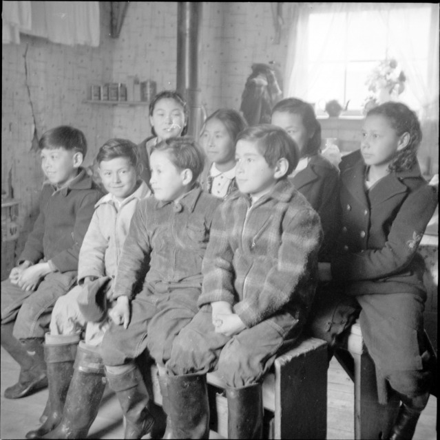 Aleut/ Unangan children at an unnamed Southeast Alaska cannery. Image courtesy NARA.