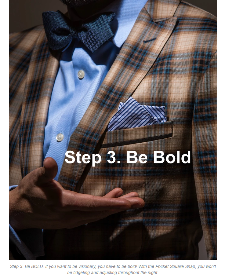 Pocket Square Snap The only invention a man needs. by p.s. mister  Fashion Inventions — Kickstarterstep 3.png