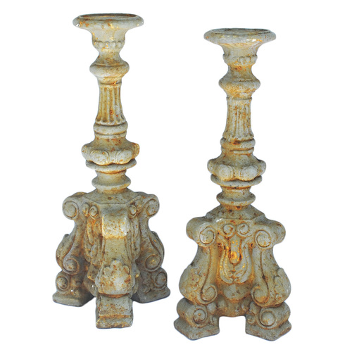Antique Concrete Candleholder Pair.jpg - Torrance Concrete Candleholders — Market Vintage Rentals, Rent