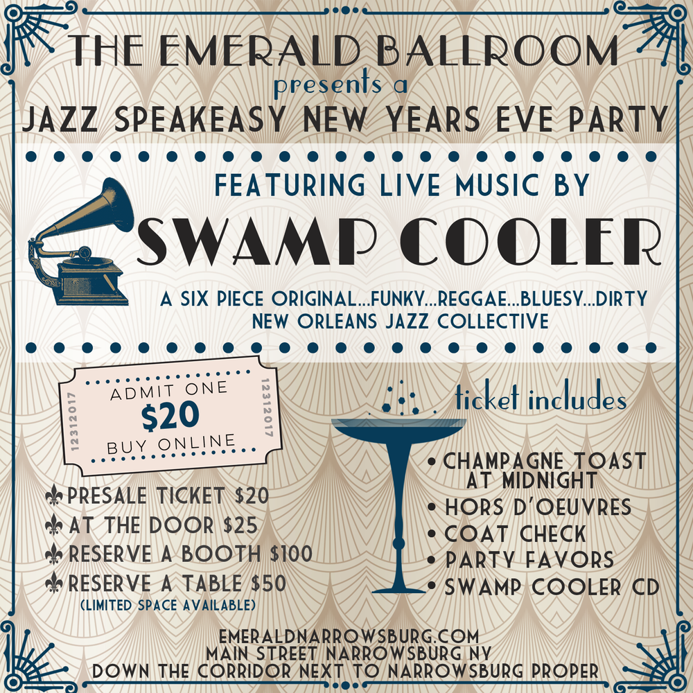 Ring in the New Year at the Emerald Ballroom - pre-sale tickets for $20 available at The Heron Restaurant, at Indie Mart Narrowsburg (Dec 15-17, DVAA Recital Hall 37 Main Street Narrowsburg)or by phone at 845-252-3333 - Reserve a booth for $100 or a table for $50 (limited space available) - LIVE MUSIC by Swamp Cooler, Champagne Toast at Midnight, Hors D'oeuvres, Coat Check, Party Favors...it's gonna be a blast!