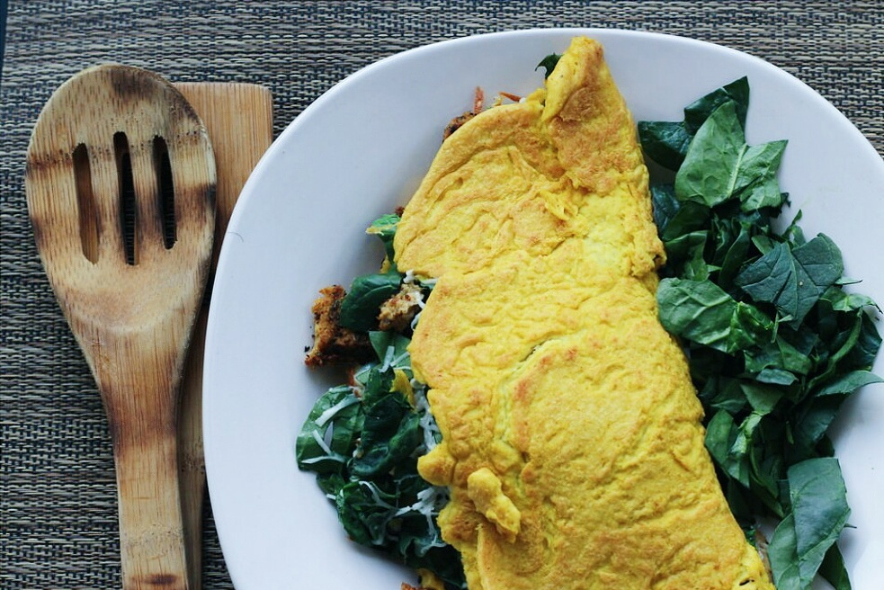"Tofu omelette with homemade ""chicken"" seitan"