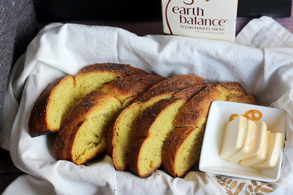 Challah slices with butter