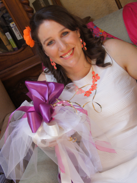 """The beautifully vibrant bride-to-be with her rehersal """"bow-quet"""" (bow-quet starter set and instructions included in Bridal Shower Box)."""