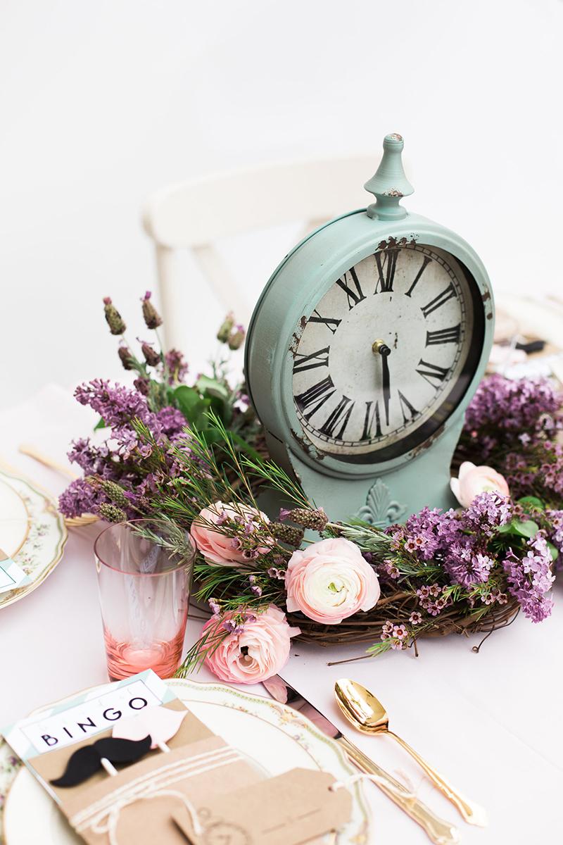 Clock and Wreath Centerpiece