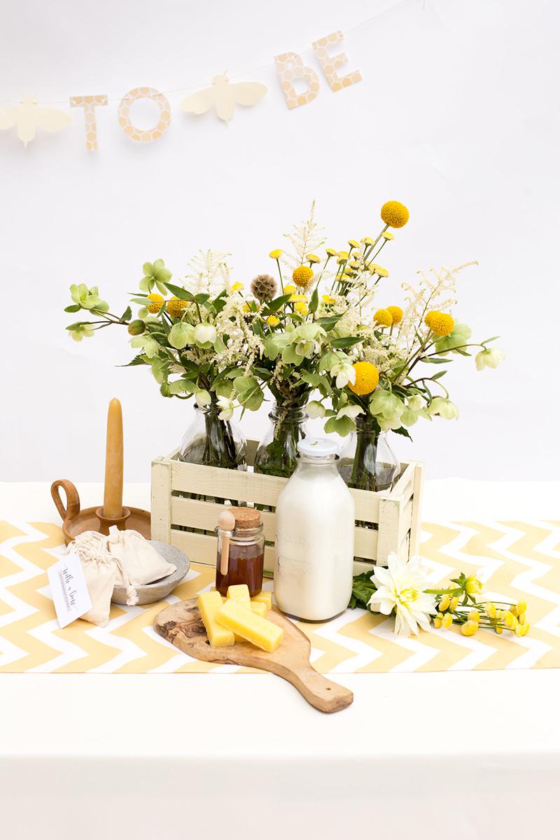 Milk Crate Centerpiece & Yellow Chevron Table Runner