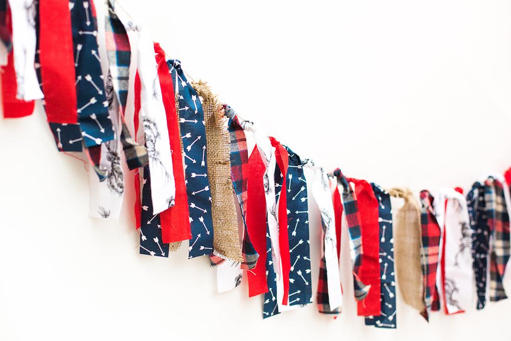 Rustic Deer & Plaid Fabric Banner