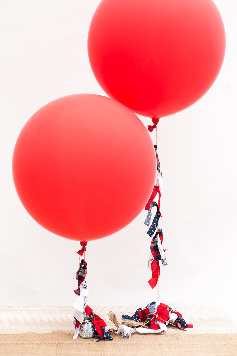 Jumbo Red Balloons with Fabric Tassel and Burlap Table Runner