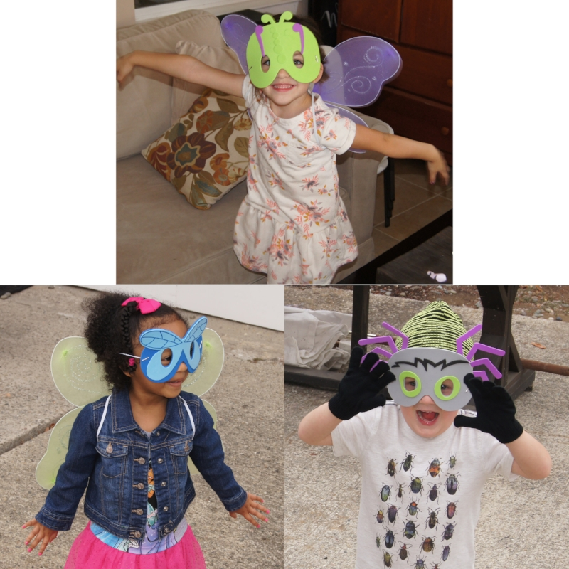 """The kids each got to make a bug mask and dress up in either bug wings or a bug beanie to be """"bug ball"""" ready! They enjoyed """"flying"""" and """"creeping"""" around until down came the rain and washed the spiders inside."""
