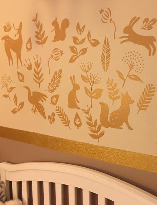 Folk Woodland Animal Wall Decal